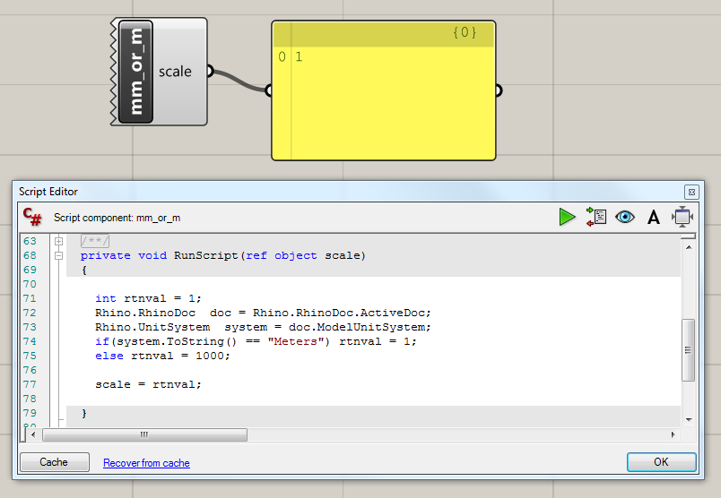 Example script showing how to get the measurement units in Rhino through the C# component in Grasshopper