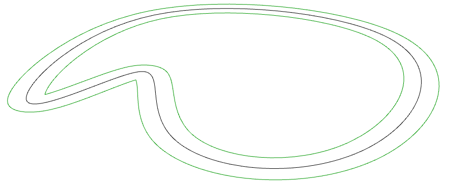 An example offset curve in Grasshopper