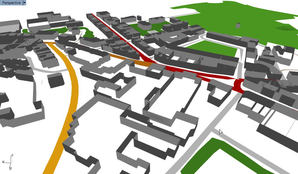 Rendering Park Street in Bristol in Grasshopper and Rhino using the Elk plugin and OpenStreetMap data.
