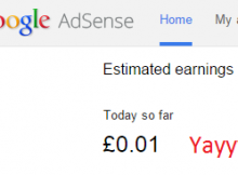 The Adsense dashboard showing my first penny
