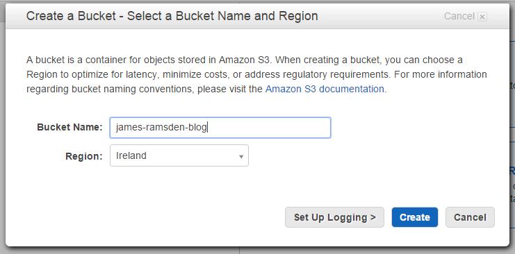 Create new bucket for Amazon S3 dialog box