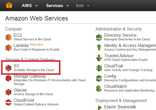 Amazon Web Services AWS dashboard