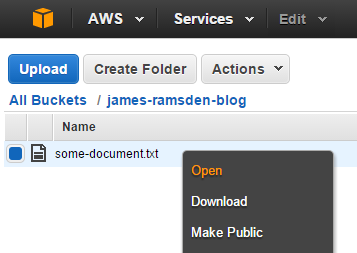 Right click file to open in Amazon S3
