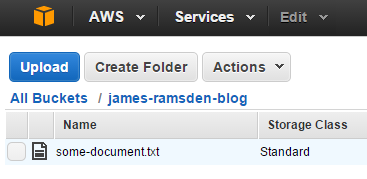 Uploaded file in Amazon S3 screenshot