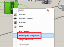 A mock-up of a 'recompute component' option in the Grasshopper component right-click menu