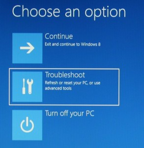 Windows 8 recovery screen - continue, troubleshoot, turn off your PC