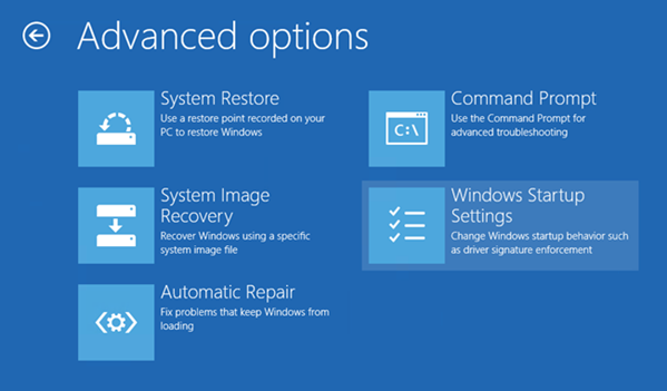 Windows 8 recovery screen - troubleshoot menu - advanced options