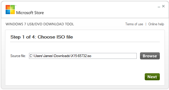 Screenshot of Windows 7 USB DVD Download Tool - choose ISO file