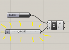A number slider in Grasshopper, automatically created with a Grasshopper C# script