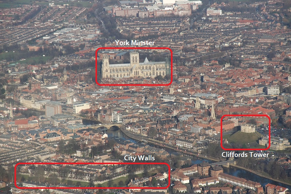 Bird's eye view of York city centre