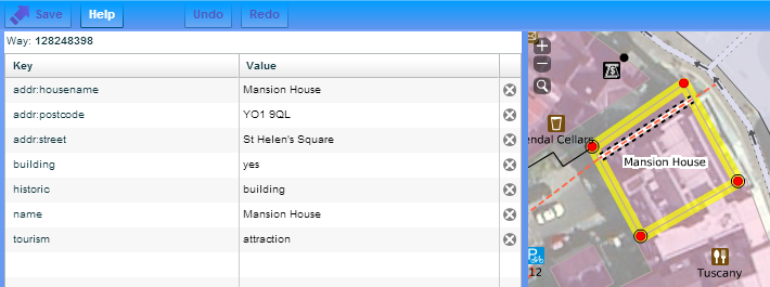 OpenStreetMap tags values keys example building