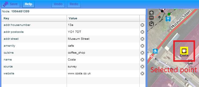OpenStreetMap tags values keys example