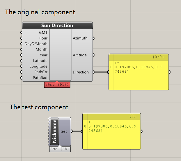 Grasshopper component for calculating sun direction written in C#, being called from a second test component