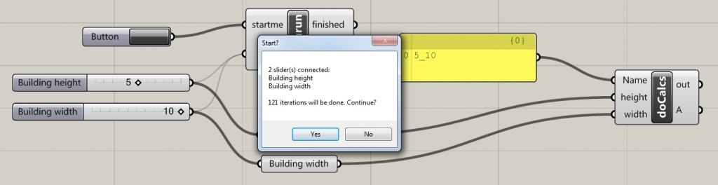 Grasshopper message box for BatchRun component