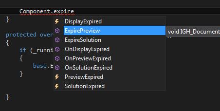 Grasshopper Visual Studio expire component Intellisense