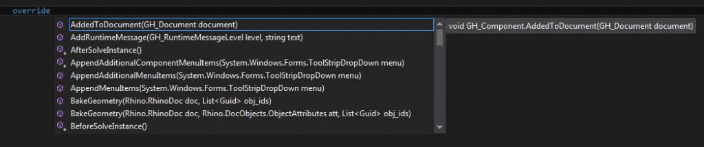 Grasshopper visual studio override methods in C#